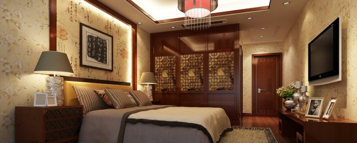 Wallpaper-and-wooden-flooring-in-Chinese-bedroom
